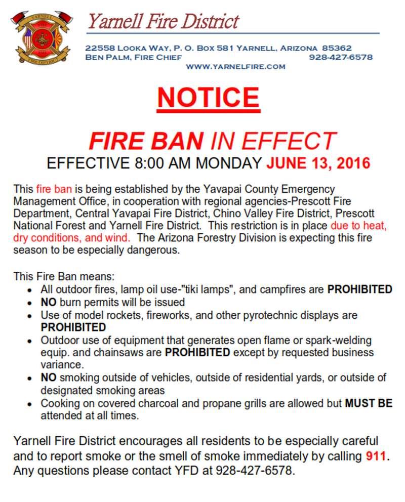 Arizona yavapai county yarnell - June_13_2016_fire_ban